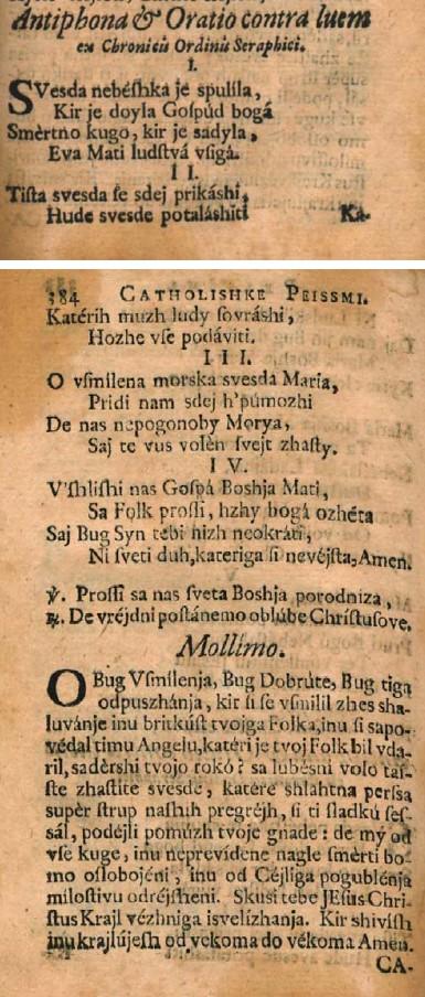 Antifona in molitev proti kugi iz kronik Serafinskega reda